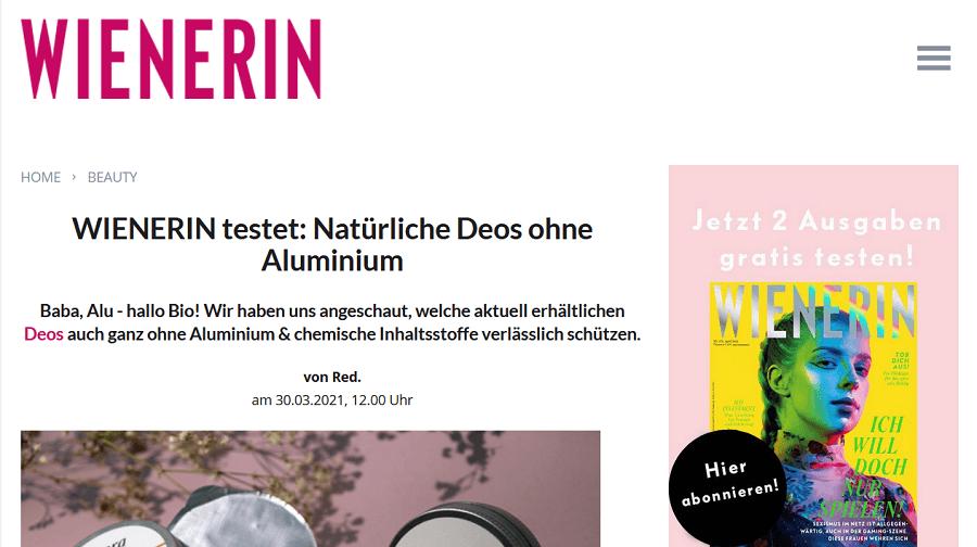 wienerin.at Test aluminiumfreie Deos März 2021